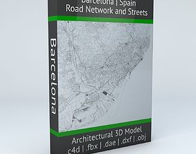 road Barcelona Road Network and Streets 3D