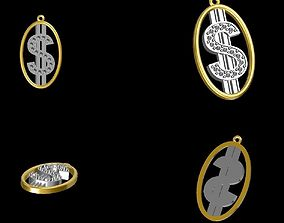 Dolar sign pendant w diamonds 3D print model