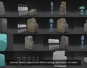 Scanned Bricks 4 types of Scan Diffrent topology 3D