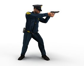 policeman gun in hand ready to shoot 3D model