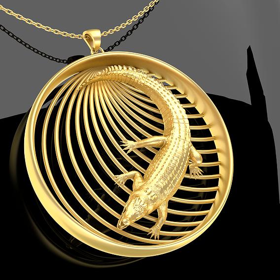 Crocodile Pendant jewelry Gold 3D print model