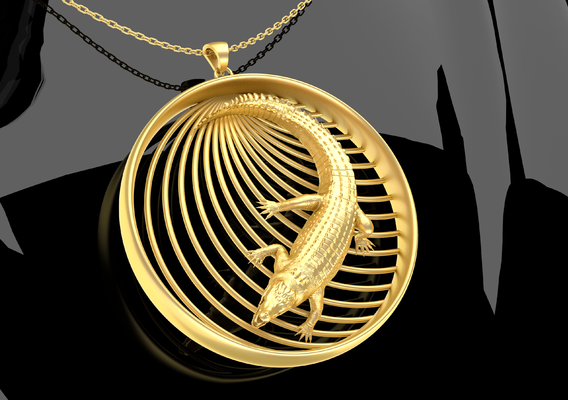 Crocodile Pendant jewelry Gold 3D print model