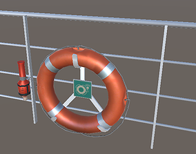 low-poly Lifebuoy with light low-poly 3d model
