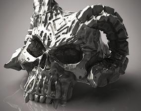 3D print model Skull with horns ring