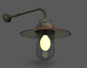 3D model low-poly PBR Old Rusted Outdoor Wall Lamp
