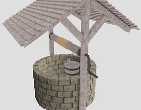 3D model low-poly medieval water well
