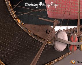 game-ready Oseberg Viking Ship Low-poly 3D model
