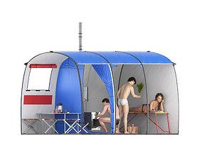 Tourist tent big - bath 3D model