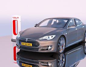 Tesla Model S and Supercharger station