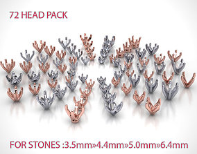 3D MEGA HEADS PACKAGE of 72 Heads for Solitaire rings
