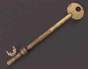 Medieval Copper Key V2 3D asset