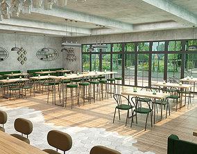 Industrial coffee bar restaurant interior design 3D