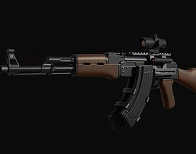 AK-47 assault rifle with scope 3D model