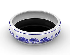 Chinese Calligraphy Brush Ceramic Ink Dish with 3D asset