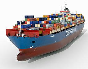 3D asset Cosco cargo ship