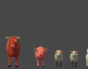 Lowpoly Domestic Animals 3D asset