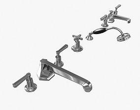 3D Lefroy Brooks Mackintosh lever 5-hole bath tap set