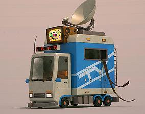 3D Cartoon Tv news car
