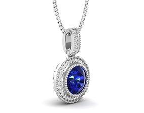 3D print model Round Center diamond pendant for woman