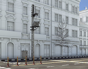 3D model Realistic Street with electric post