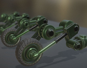 Hydraulic Suspension with Tires Green Version 3D model 2