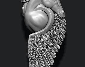 horse pegasus pendant silver 3D print model