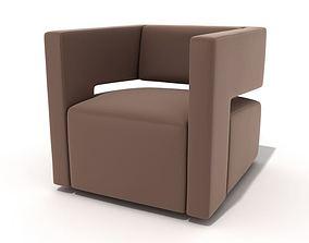 3D Modern Square Cushioned Brown Chair