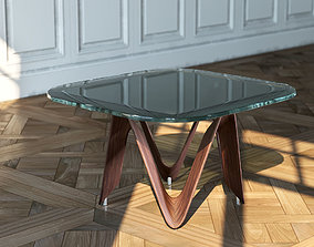 Glass Table With Wooden Stand 3D asset