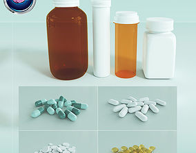 Medication Pills Capsules Bottles and Containers 3D
