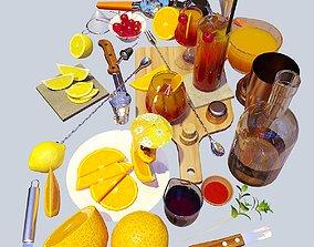 3D model Cocktail Set Tequila Sunrise