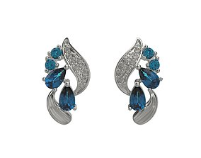 Earrings with diamonds and gems 3dm stl print
