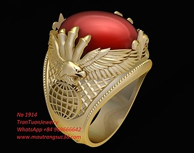 3D printable model 1914 Eagle Ring with oval ruby