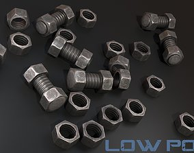Nut and bolt - Game Ready - VR AR 3D model