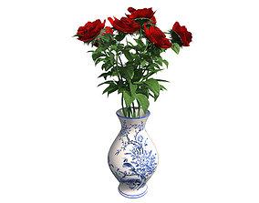 Red Rose in Vase 3D asset