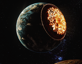 3D model rigged Realistic Exploding Earth Scene