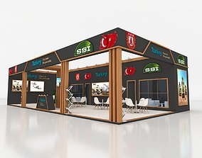 3D Exhibition Stand 750x1450cm Height 366 cm 2 Side Open
