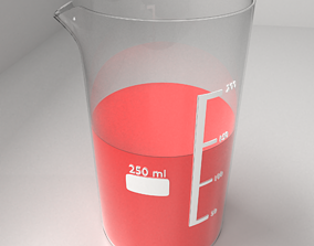 3D 250ml Glass Beaker with Liquid 2