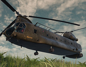3D model low-poly CH47D Chinook Helicopter