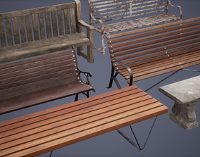 Bench Set Low Poly Game Ready 3D model