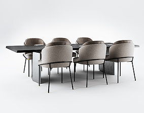 3D Minotti Fil Noir Dining Chairs and Morgan Table - 1