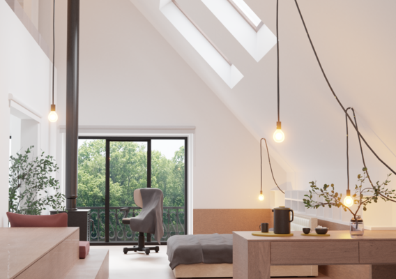 Real photo vs render,a room