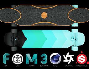 3D model Rigged Longboard - Factory New
