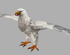 White Eagle Low Polygon Art Bird Animal 3D model