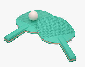 Ping Pong Paddle 001 Green 3D asset realtime