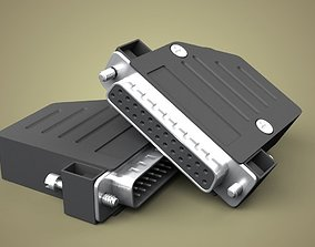 3D model 25 pin connector