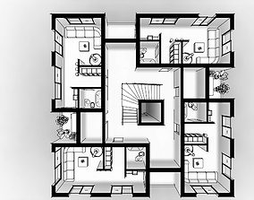 apartments building 3D printable model