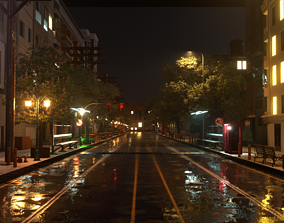 animated City street Realistic 3D Model