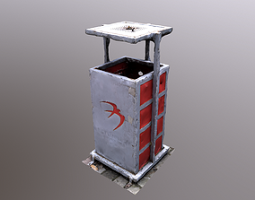 game-ready Trash Bin 3D scan