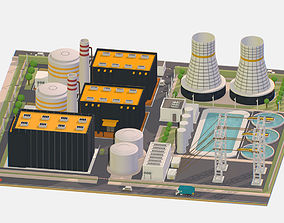 3D model Isometric Presenting Nuclear Power Station