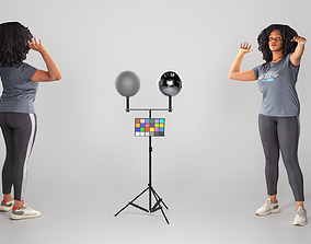 3D asset Young african-american woman in sportswear 3